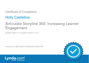 Certificate of Completion - Articulate Storyline 360 - Increasing Learner Engagement