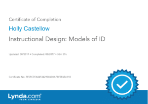Certificate of Completion - Models of Instructional Design