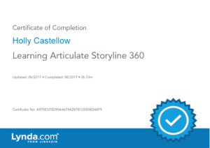Certificate of Completion - Learning Articulate Storyline 360