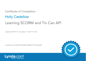 Certificate of Completion - Learning SCORM and Tin Can API