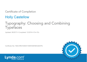Certificate of Completion - Typography - Choosing and Combining Typefaces