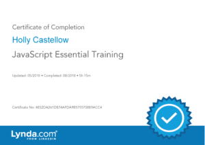 Certificate of Completion for JavaScript Essential Training